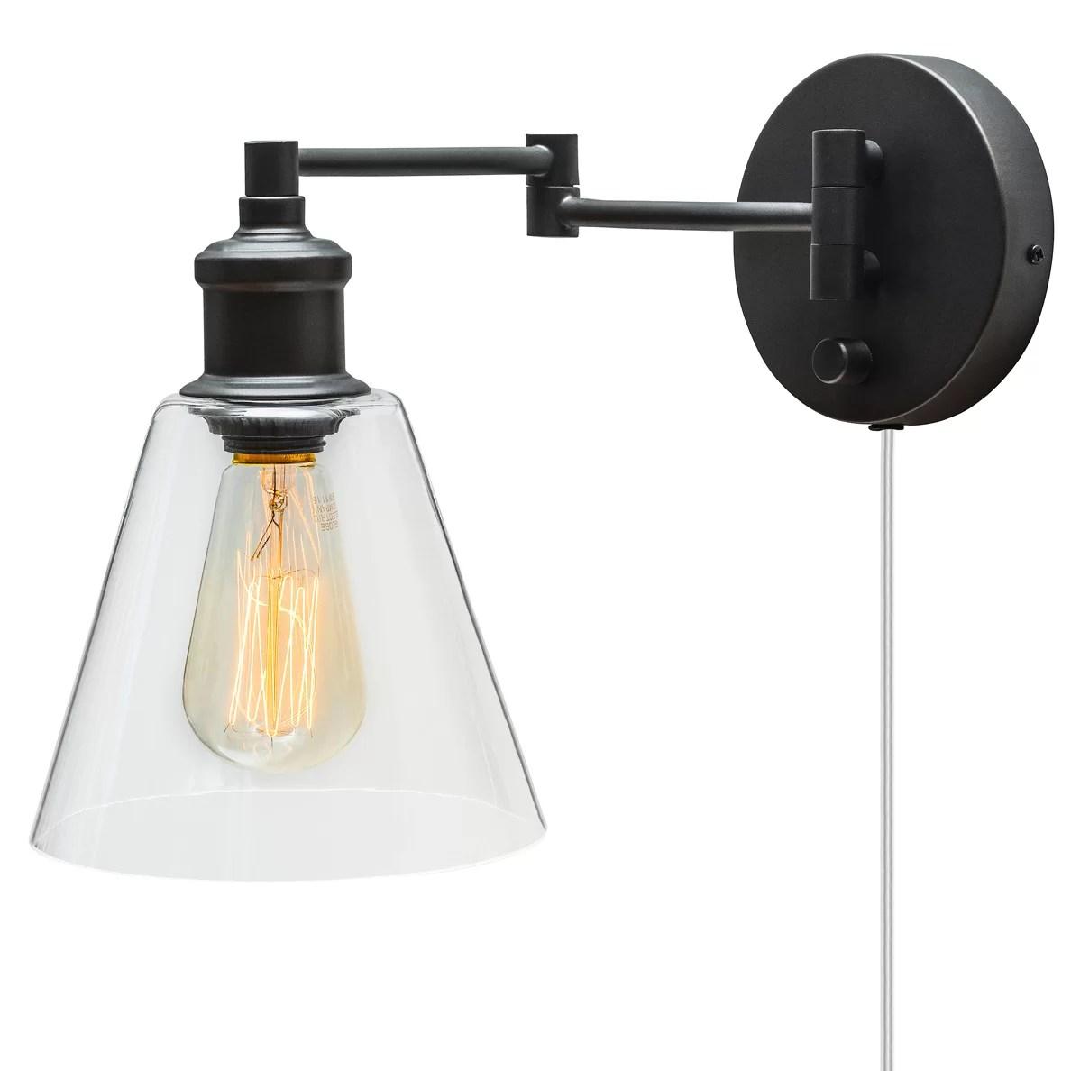 Globe Electric Company Adison 1 Light Plug In Industrial ... on Plugin Wall Sconce Lights id=82130
