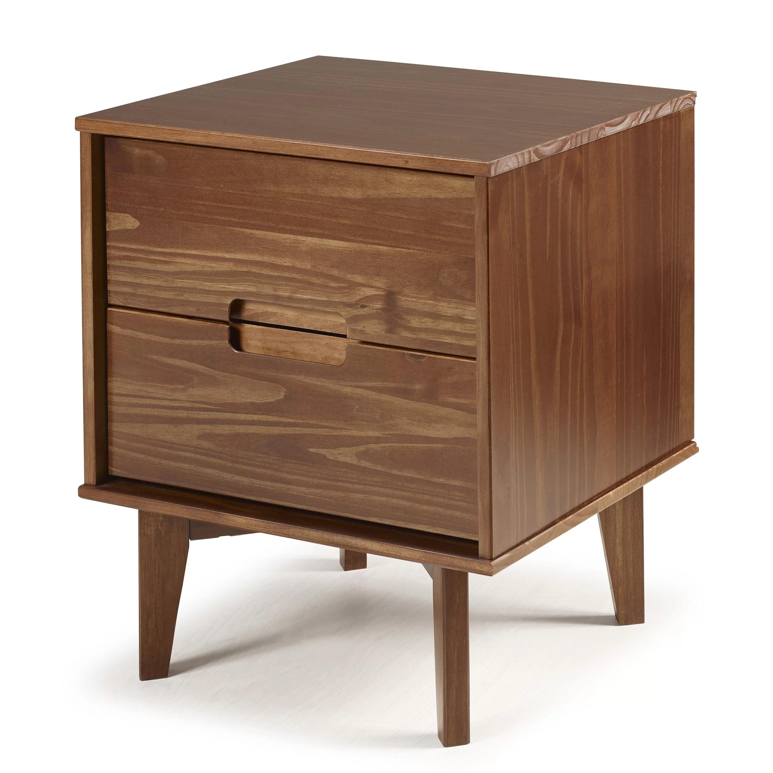 Gartner Groove Handle Wood 2 Drawer Nightstand