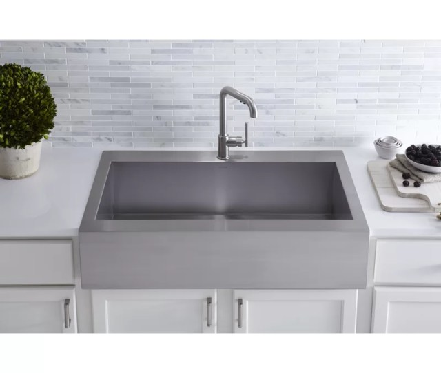 K 3942 1 Na Vault Top Mount Single Bowl Stainless Steel Kitchen Sink With Shortened Apron Front For 36cabinet