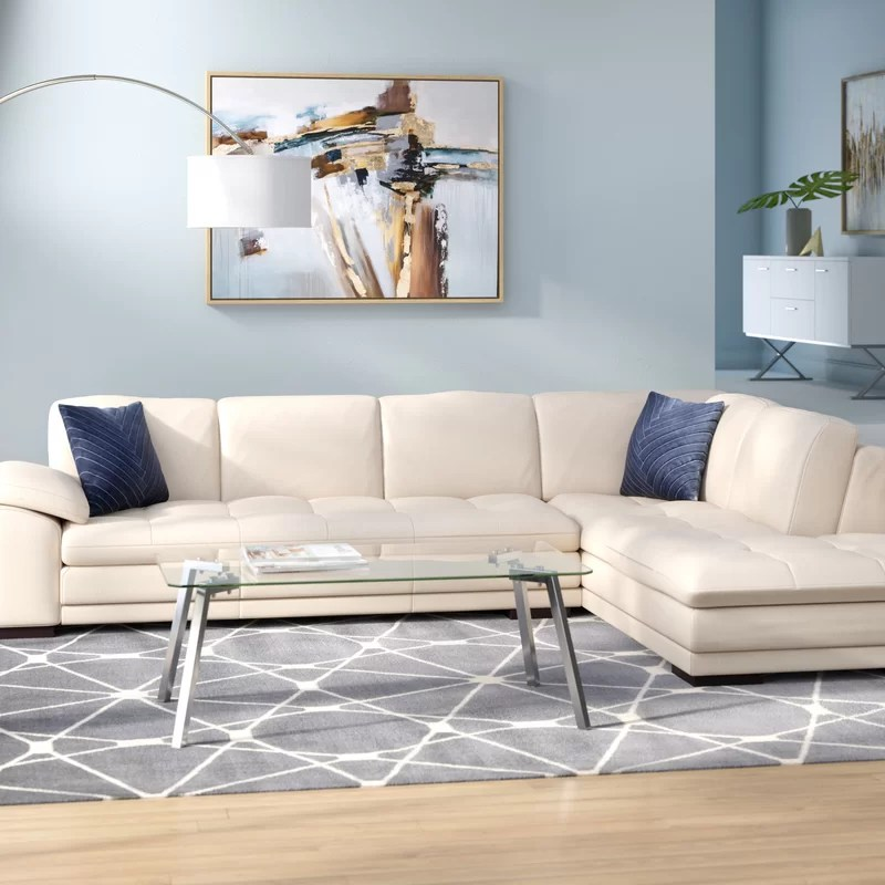 124 wide leather match sofa chaise