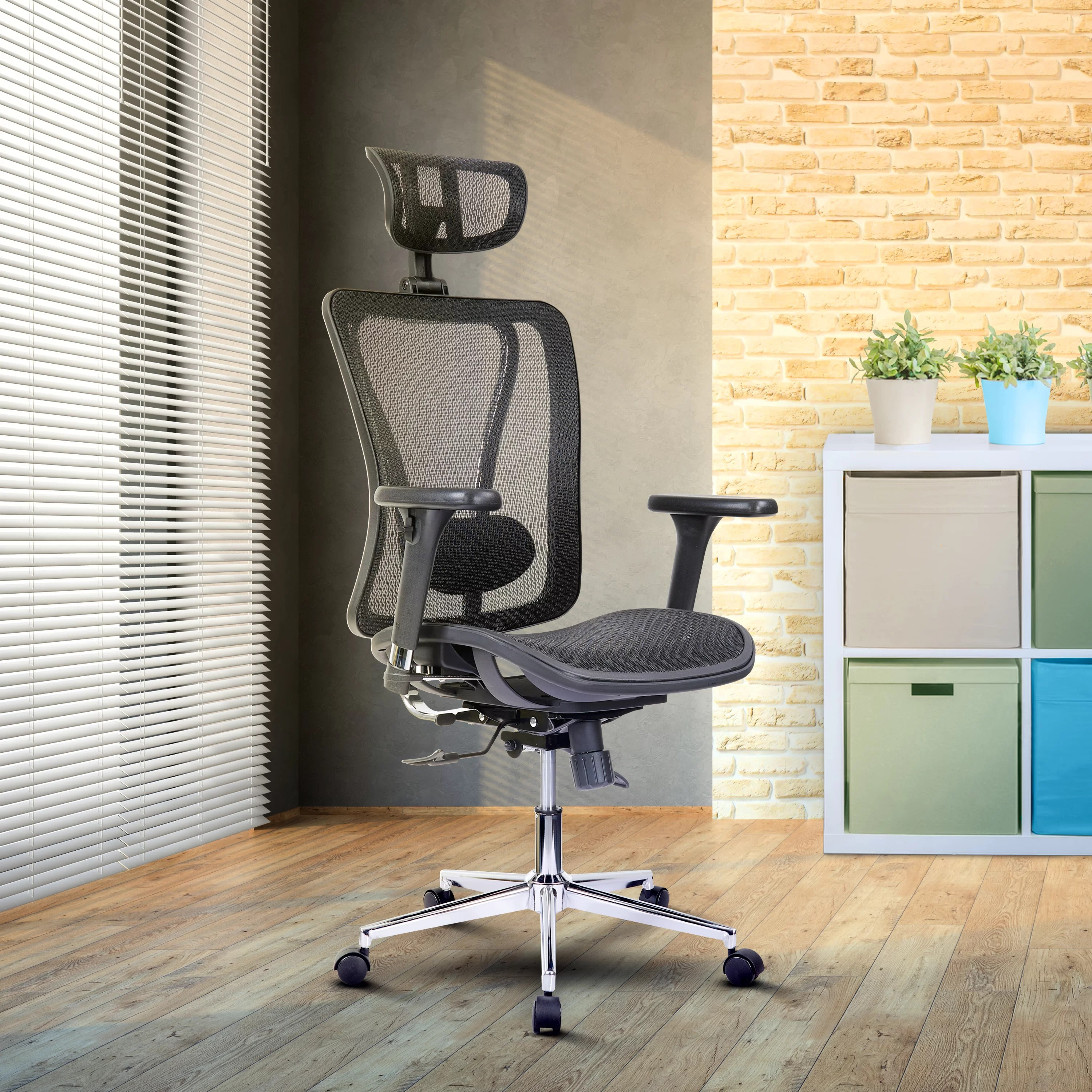 Sebastiao High Back Executive Mesh Office Chair With Arms Headrest And Lumbar Support Black