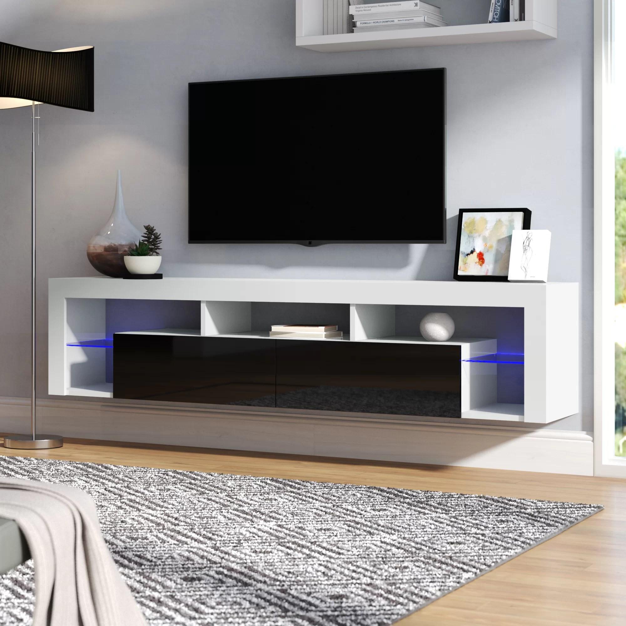 Wood Wall Tv Stand Media Shelves Floating Av Stands Entertainment Center Black
