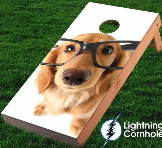 Golden Retriever with Glasses Cornhole Board