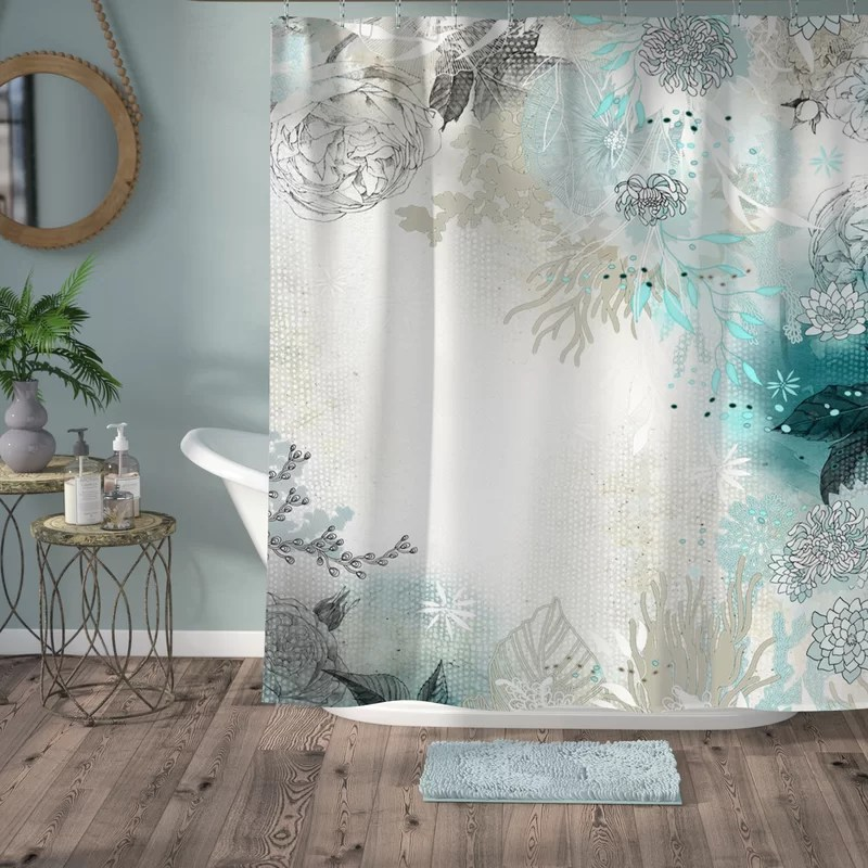 Bungalow Rose Holley Seafoam Shower Curtain Amp Reviews Wayfairca