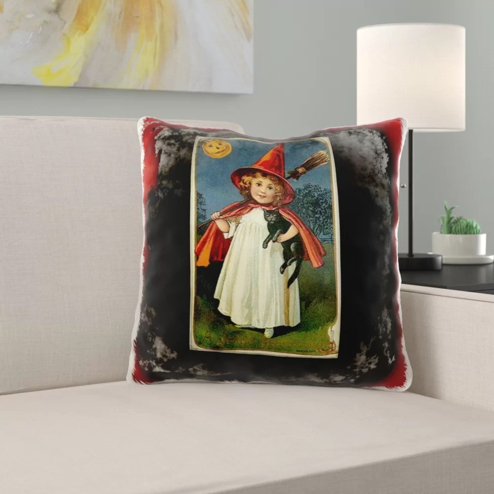 minneota vintage halloween witch girl and cat throw pillow cover
