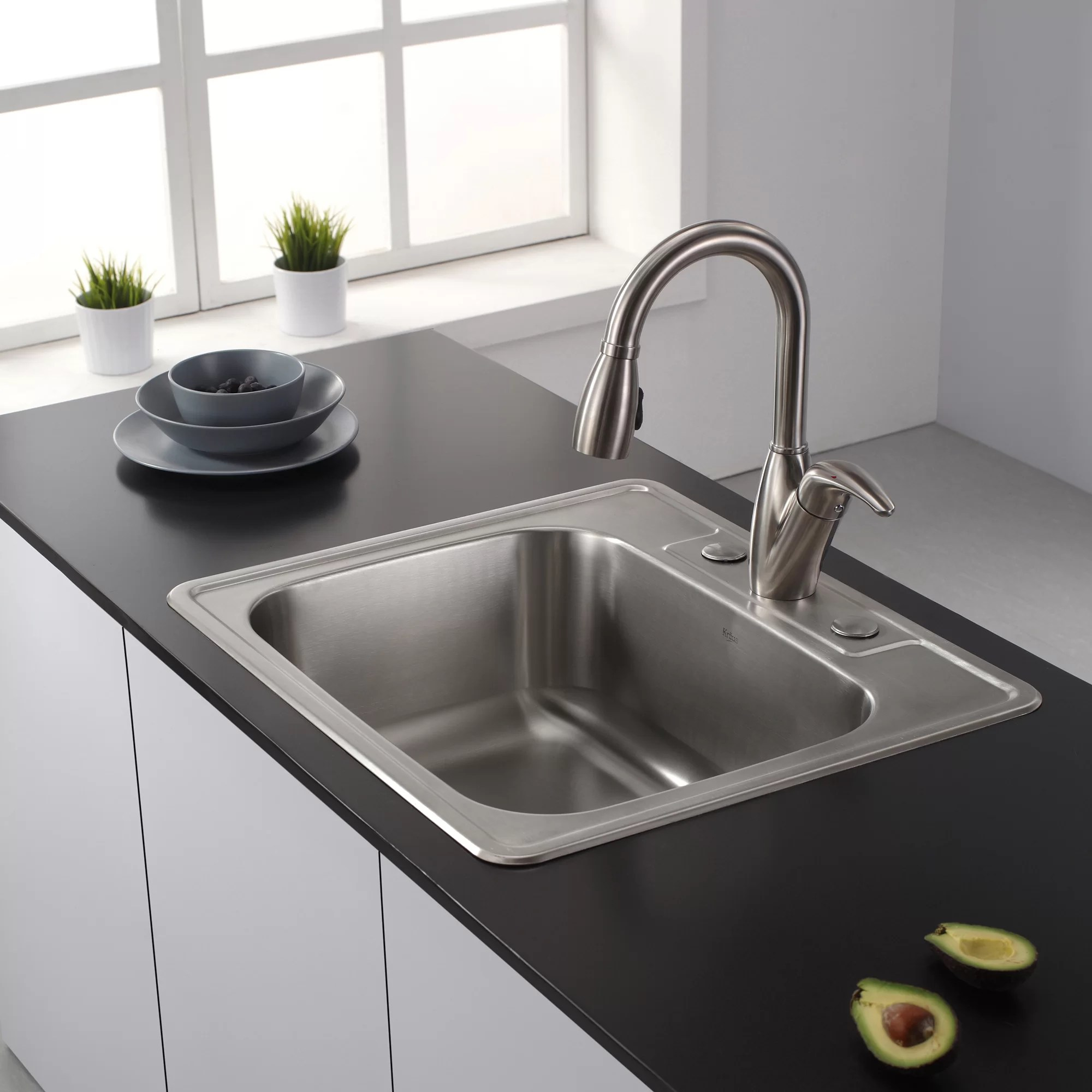 25 l x 22 w drop in kitchen sink