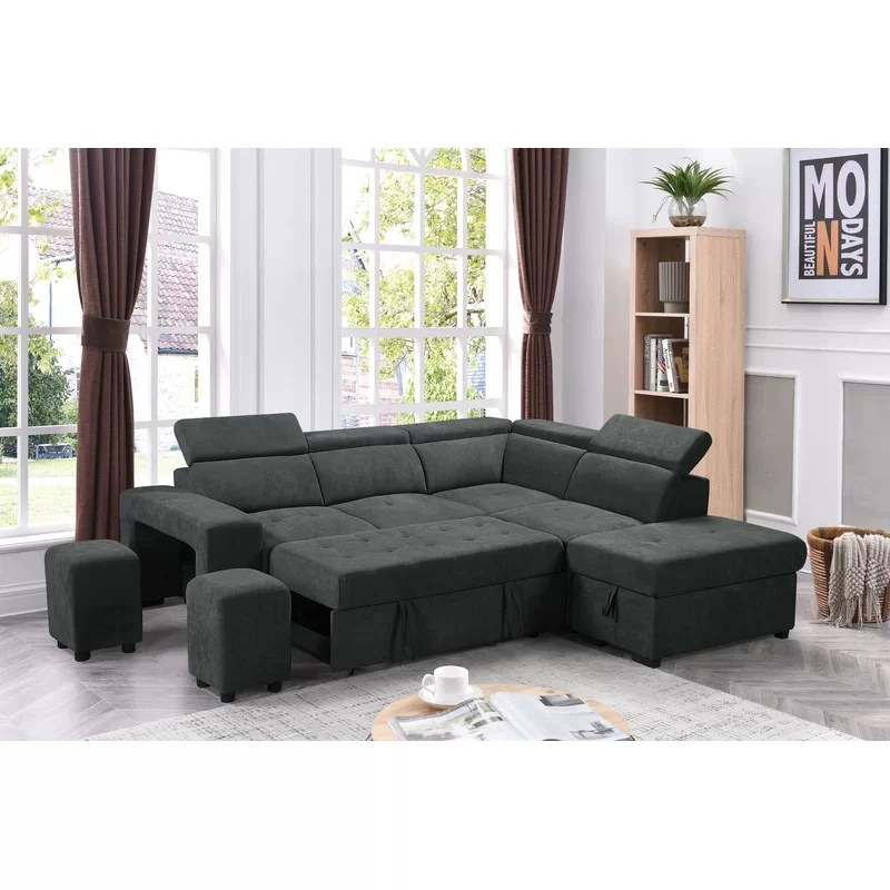 alleyn 97 right hand facing sleeper sectional with ottoman