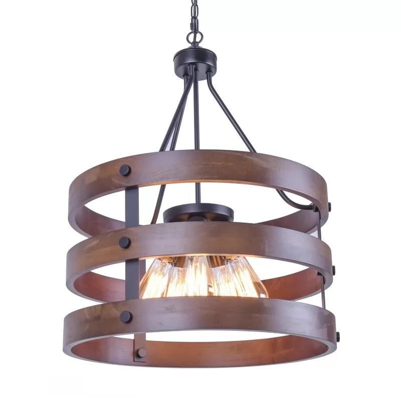 tatyana rustic wooden 3 light drum chandelier