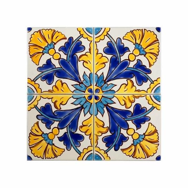 mediterranean 4 x 4 ceramic gibraltar decorative accent tile in blue yellow