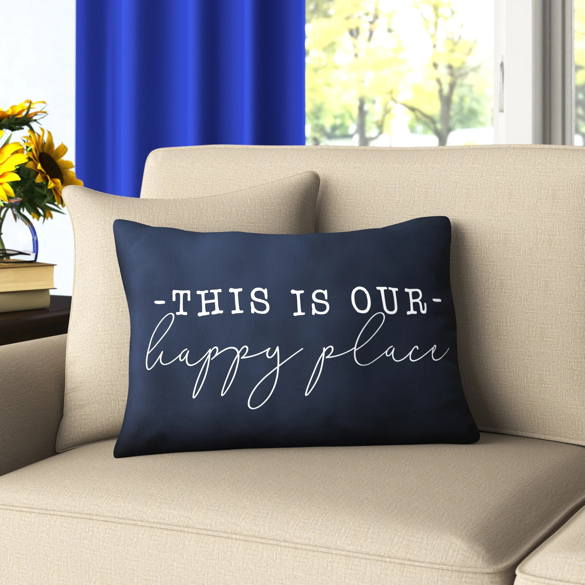 mcghee this is our happy place indoor outdoor rectangular lumbar pillow