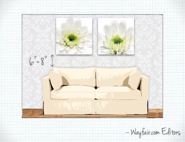 how high to hang pictures over sofa. Black Bedroom Furniture Sets. Home Design Ideas