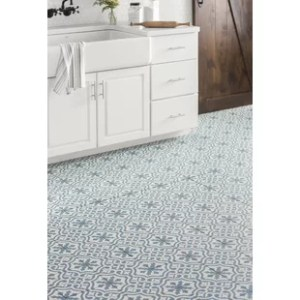 Floor Tile You ll Love   Wayfair Alameda 17 63  x 17 63  Ceramic Field Tile in Blue White