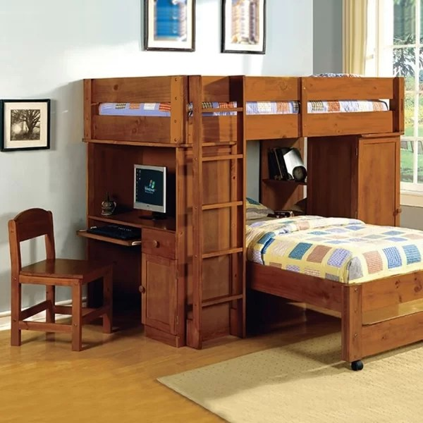 Higham Twin L Shaped Bunk Beds With Bookcase By Harriet Bee