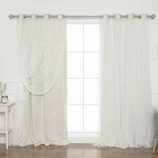 efird tulle overlay star cut out solid blackout thermal grommet curtain panels set of 2