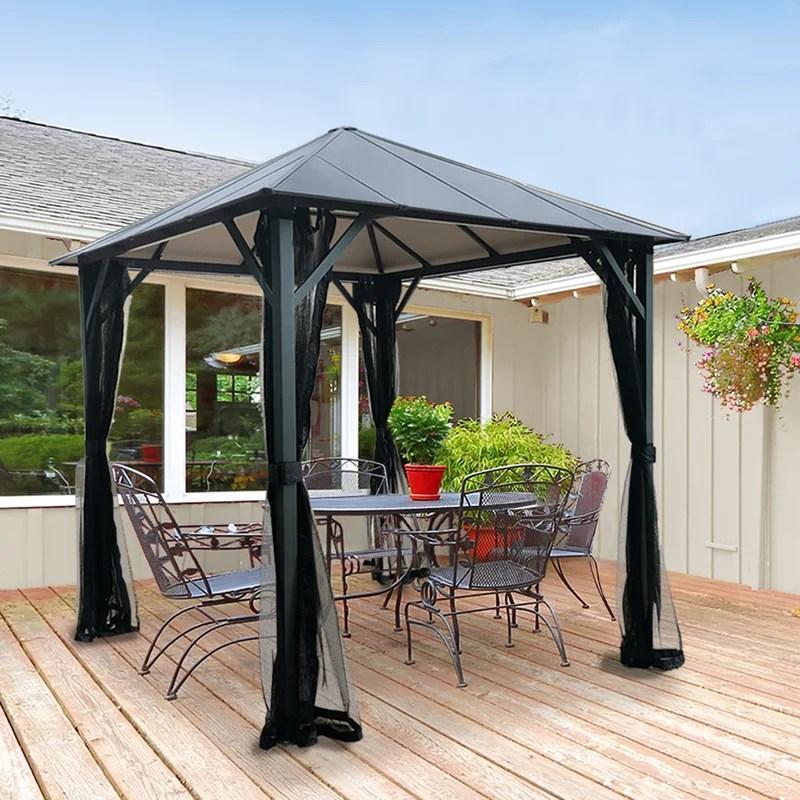 hardtop insulated 8 ft w x 8 ft d metal patio gazebo