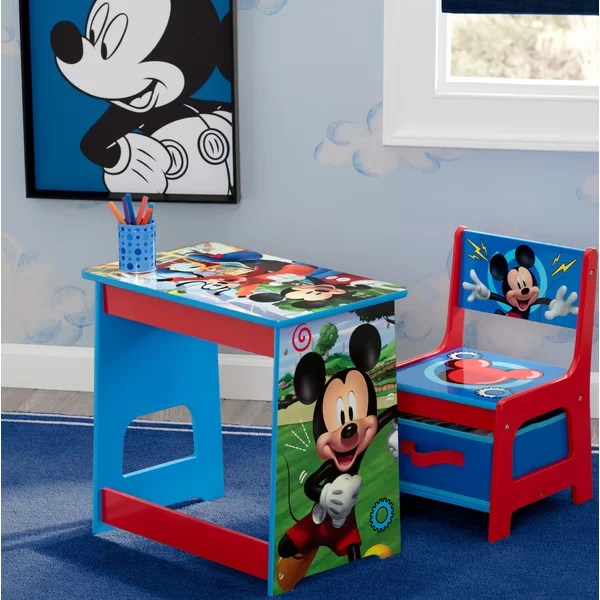 Disney Mickey Mouse Kids 2 Piece Activity Table And Chair