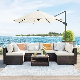 7 piece patio furniture set outdoor sectional sofa couch handwoven pe wicker rattan patio conversation set with cushions and glass table brown and