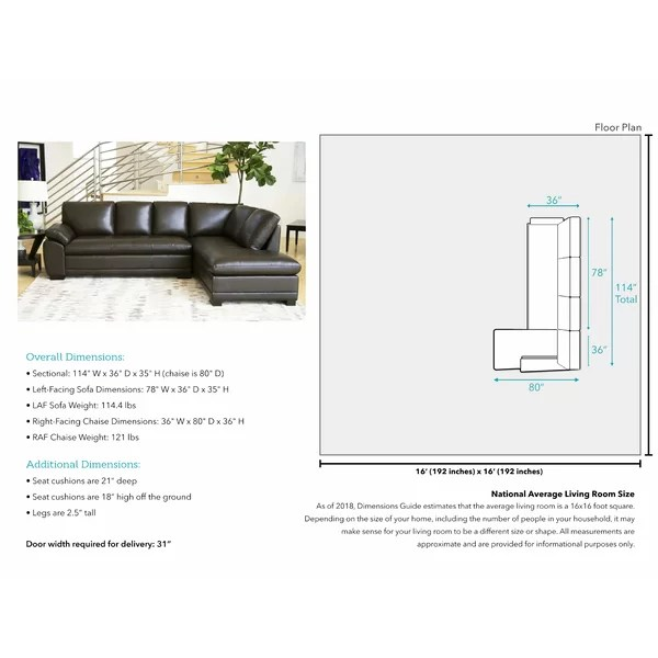 barnard leather 114 right hand facing sectional