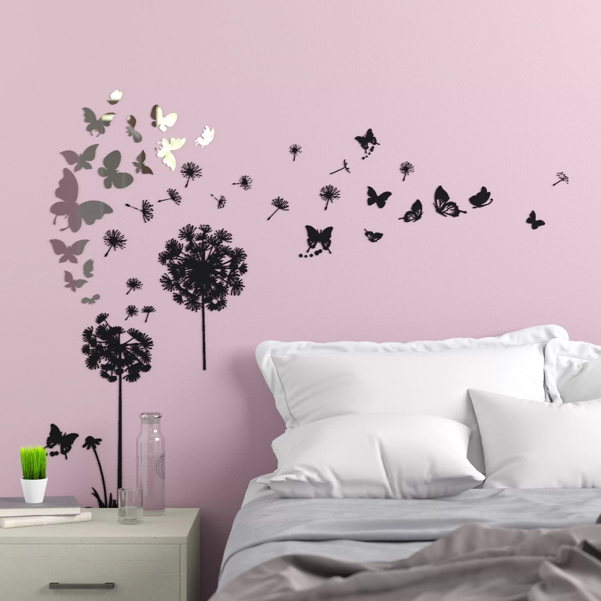 Viens Mirror Butterfly Transparent Dandelion Wall Decal