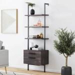Moskowitz Open Shelf Industrial Ladder Bookcase