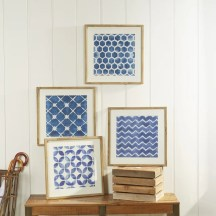 'Blue Geometric' Framed Prints