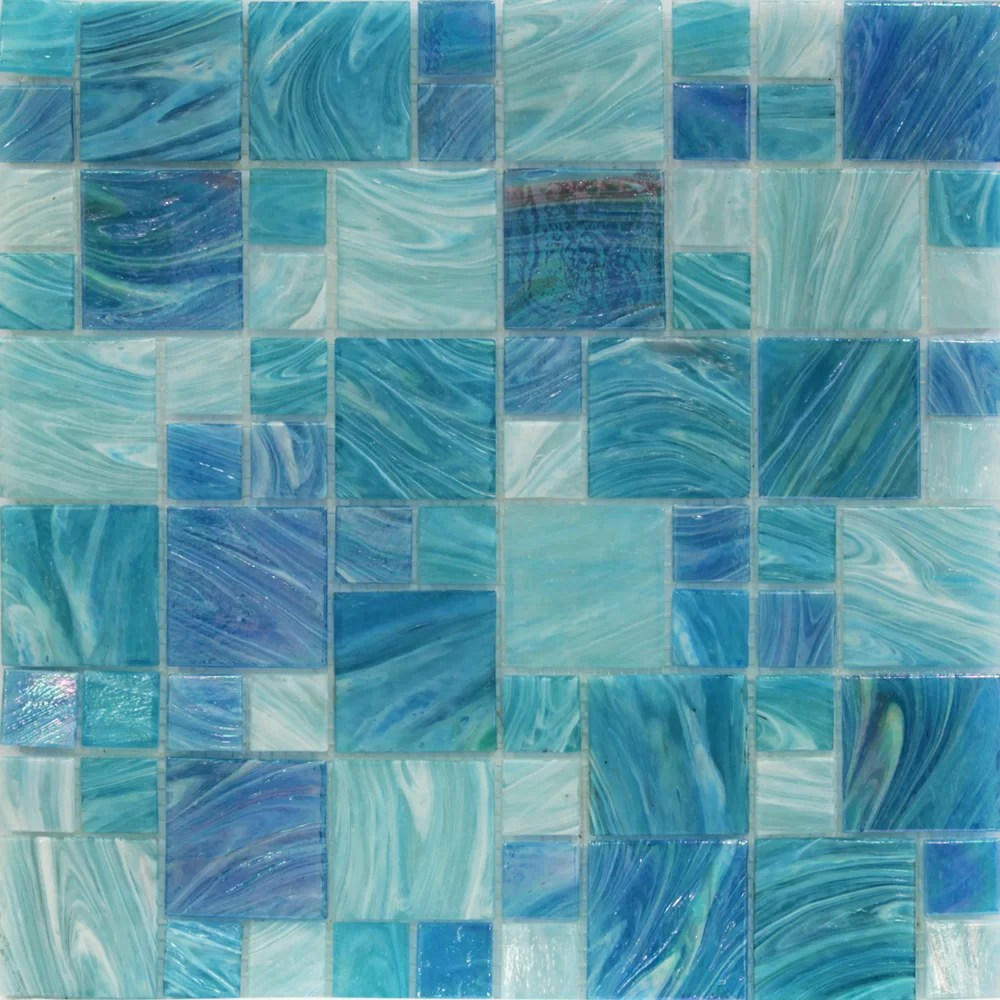 aqua glass random mosaic tile