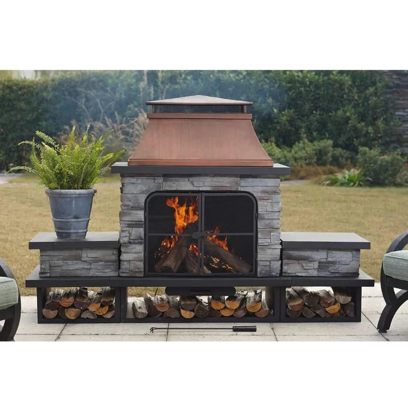 Canora Grey Quillen Steel Wood Burning Outdoor Fireplace ... on Quillen Steel Outdoor Fireplace  id=69291
