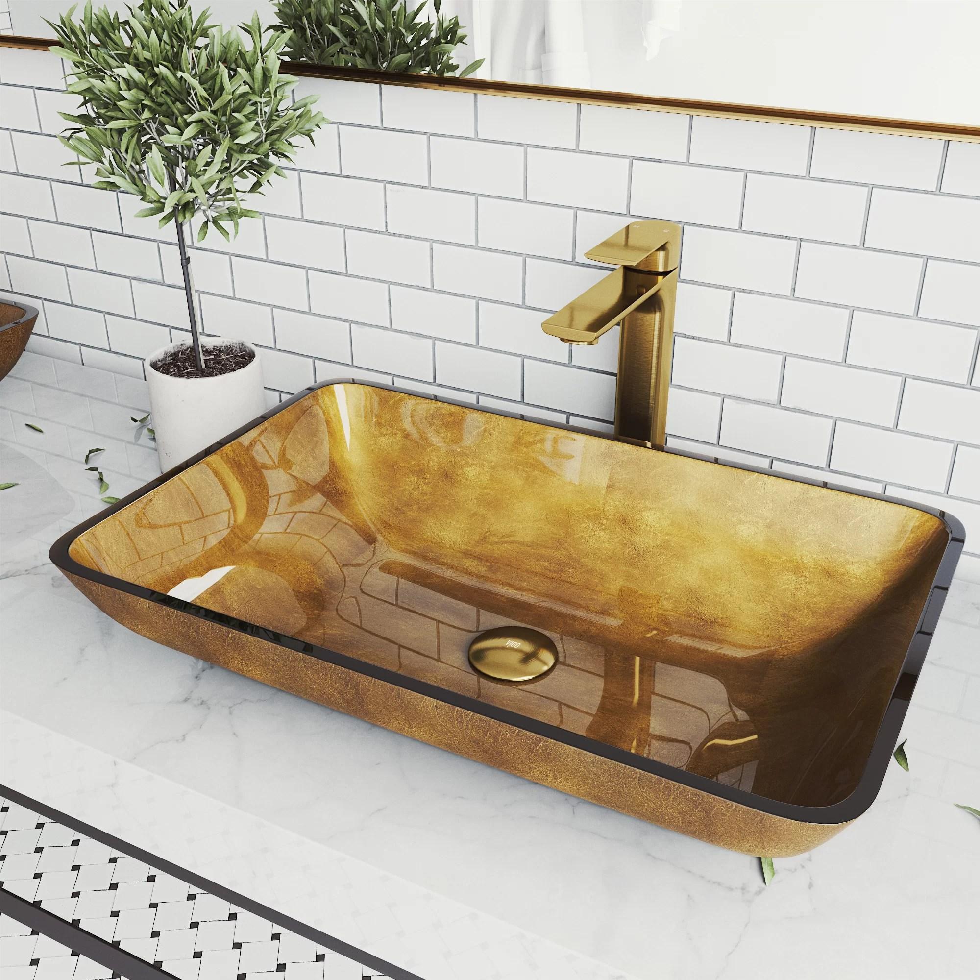 handmade copper glass rectangular vessel bathroom sink with faucet