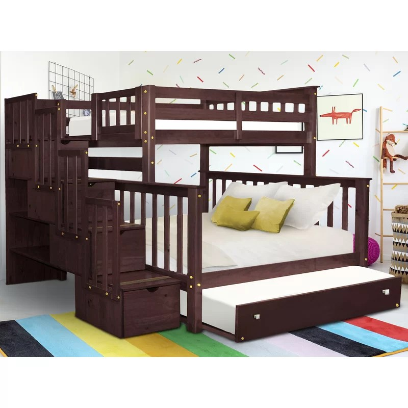 Black Twin Over Full Bunk Bed With Stairs