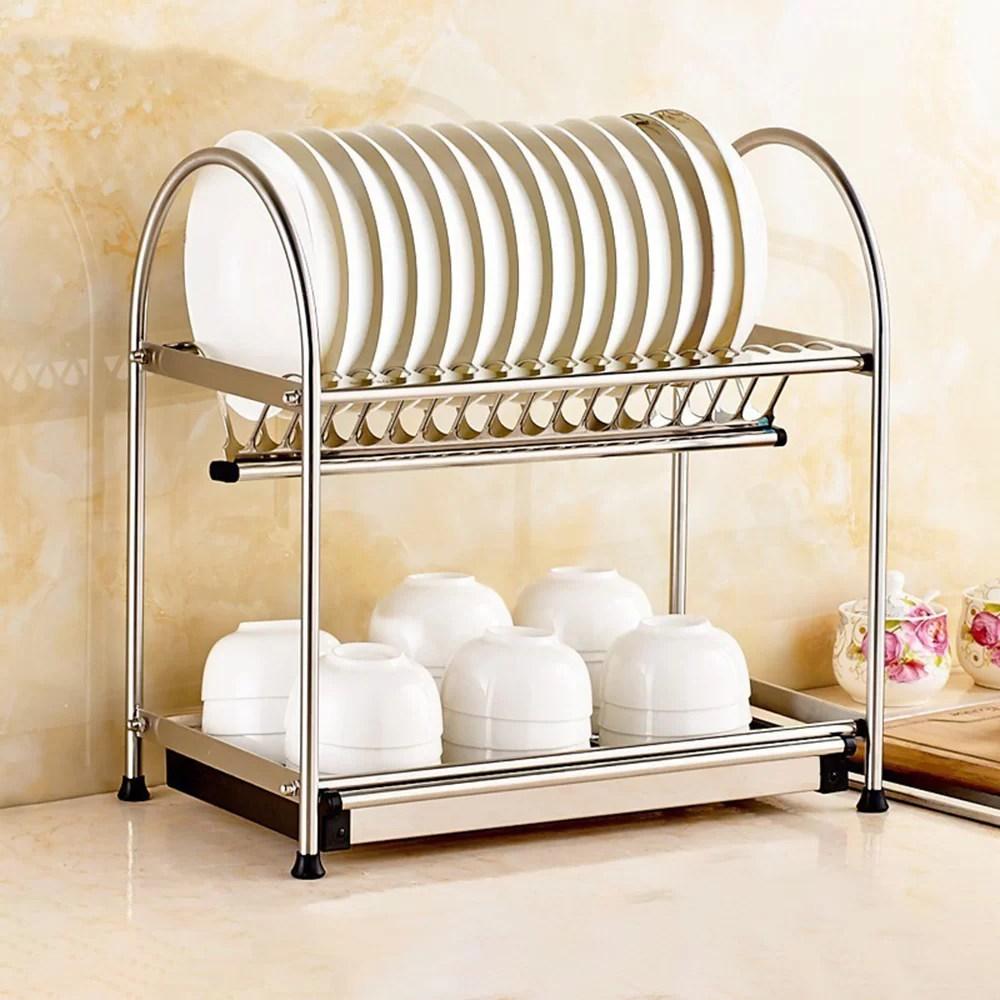 stainless steel 2 tier dish rack