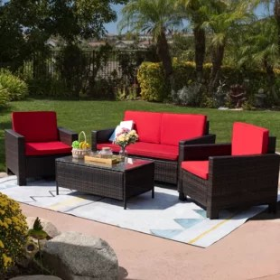 shamavi 4 piece rattan sofa seating group with cushions