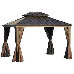 12 ft w x 10 ft d steel patio gazebo