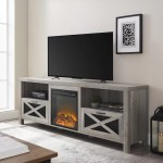 Gracie Oaks 70 Rustic Farmhouse Fireplace Tv Stand Grey Wash Reviews