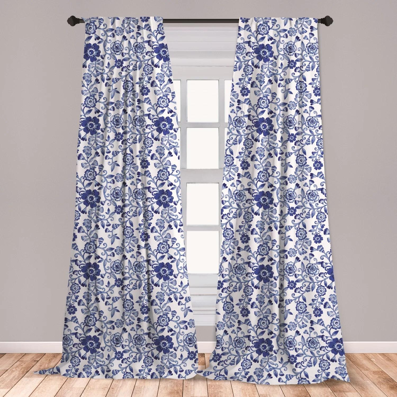 ananas watercolor 2 panel curtain set vibrant blue flowers pattern feminine floral spring ornaments lightweight window treatment living room bedroom