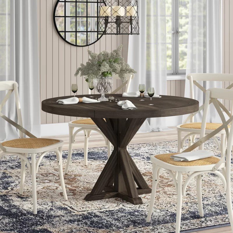 laurel foundry modern farmhouse sydney solid wood dining on solid wood dining table id=88742