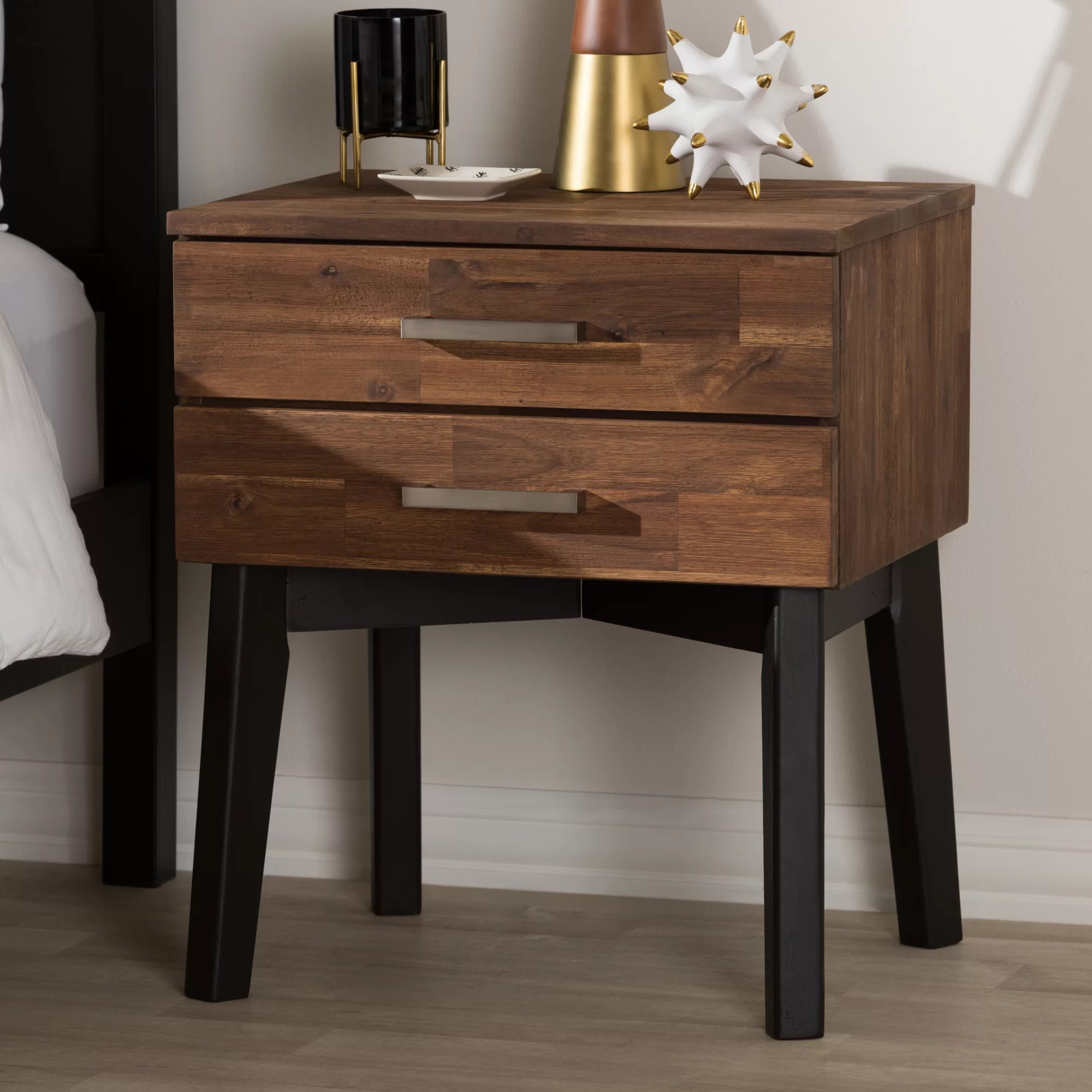 Bilokur 2 Drawer Wood Nightstand