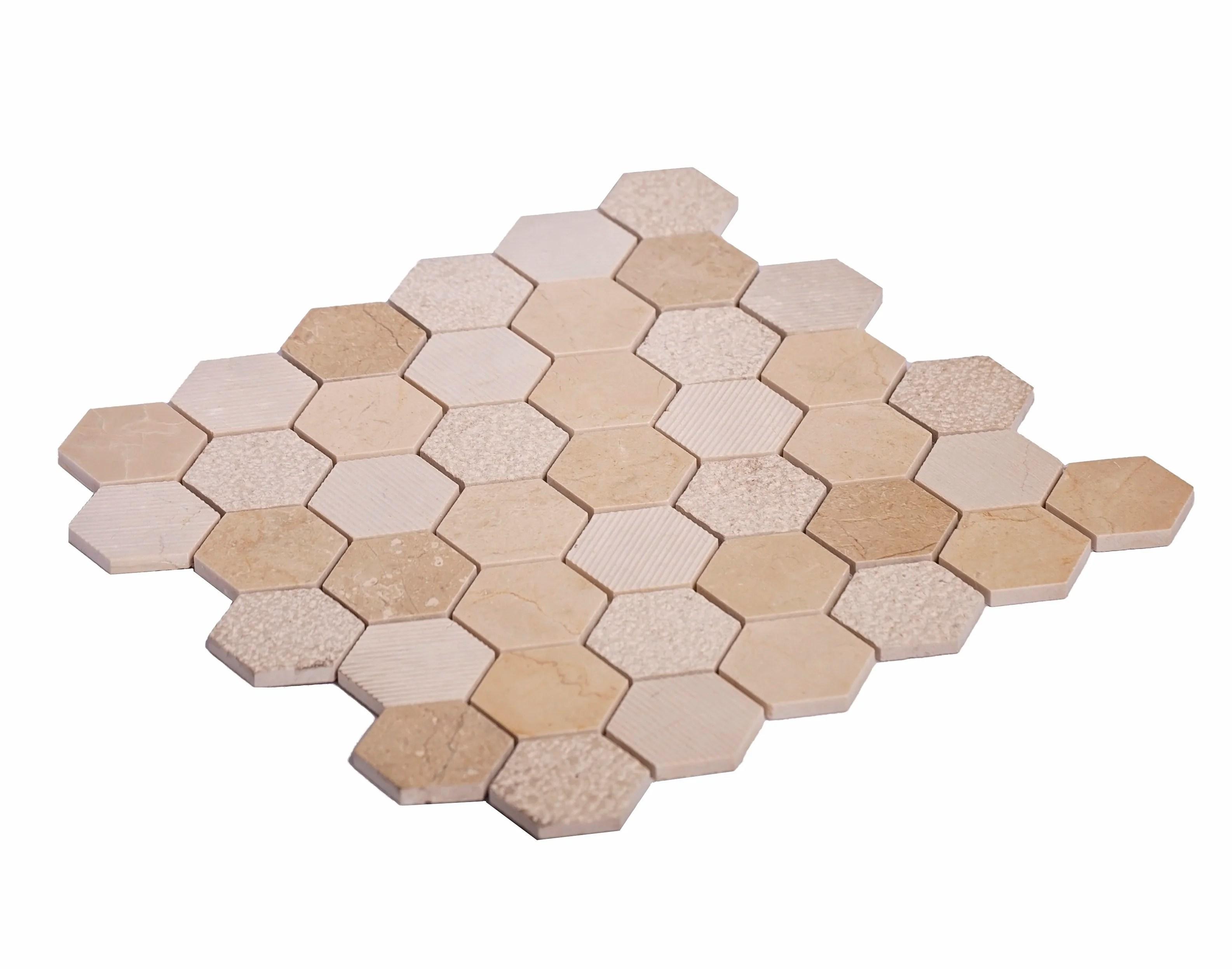 tile club 1 9 x 1 9 marble look honeycomb wall floor wayfair