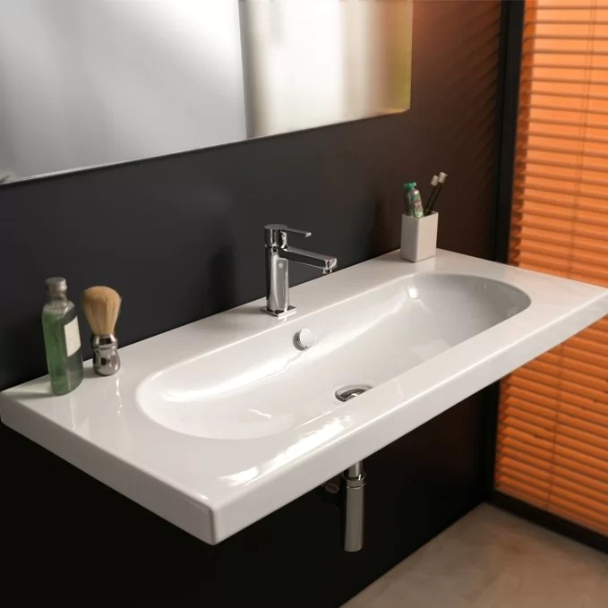 edo wide glossy white vitreous china rectangular drop in bathroom sink with overflow
