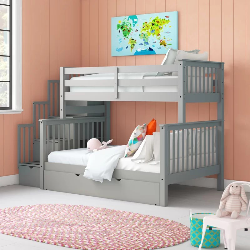 Tena Twin Over Full Bunk Bed with Trundle, Shelves and 4 Drawers