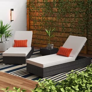 putney sun lounger set with cushions and table
