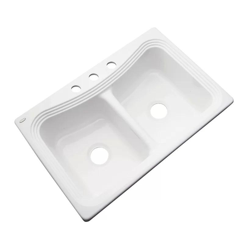 stockton 33 l x 22 w double basin drop in kitchen sink