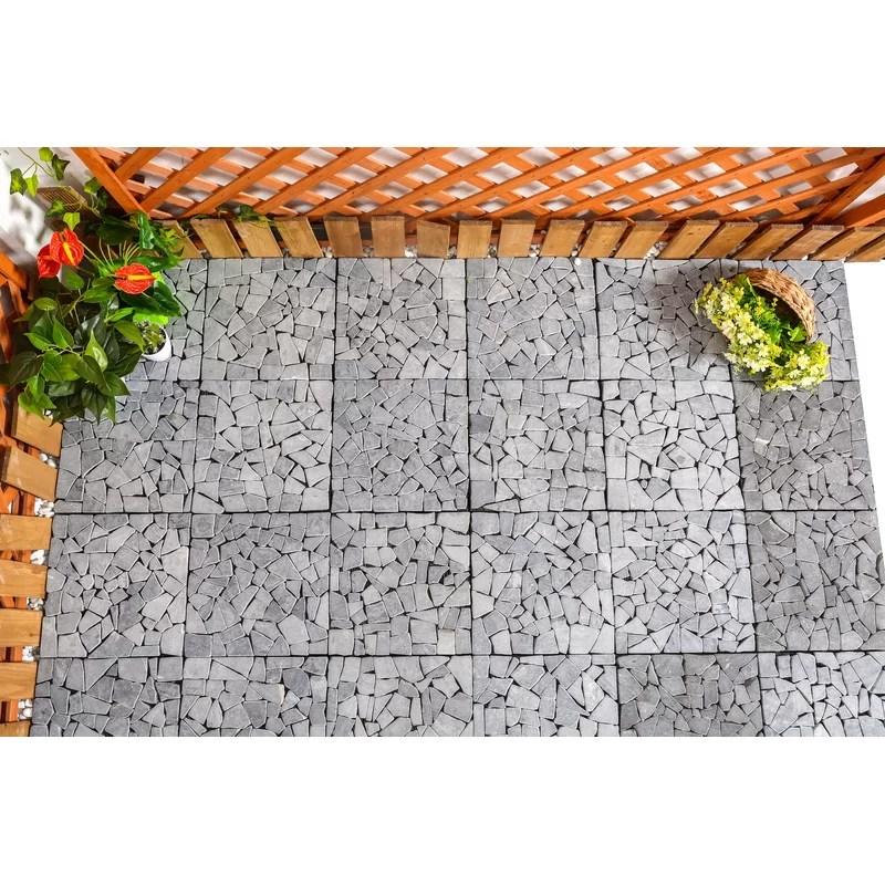 11 8 x 11 8 stone interlocking deck tile in gray