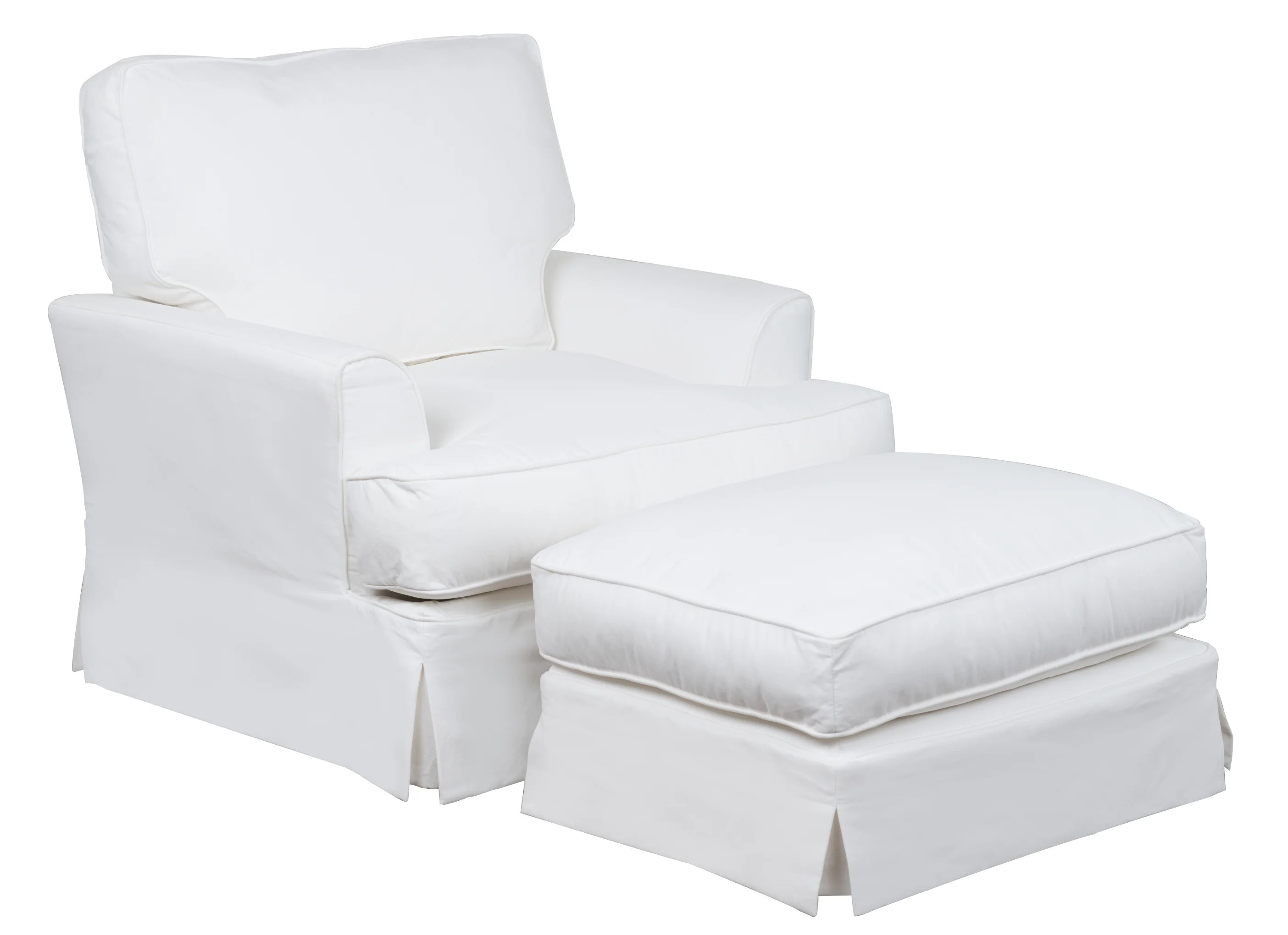 View White Accent Chair With Ottoman PNG