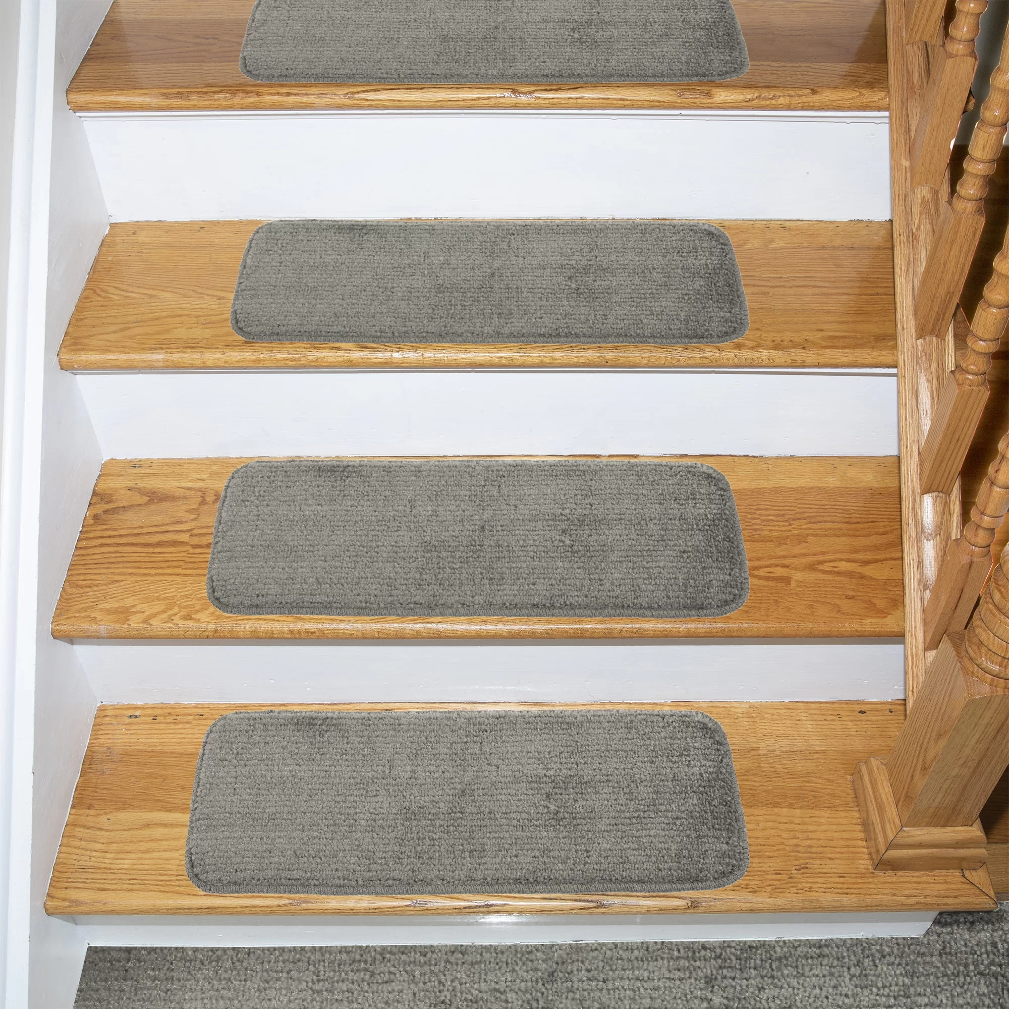 Tucker Murphy™ Pet Beattie Soft Solid Sh*G Carpet Stair Tread | Carpet Treads For Wooden Stairs | Commercial Rubber | Rectangular Cord Treads | Carpet Wrapped | Self Adhesive | Different Style Stair