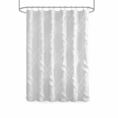 gray silver ruffled shower curtains