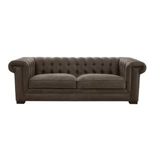 greeley tufted leather sofa with nailhead trim