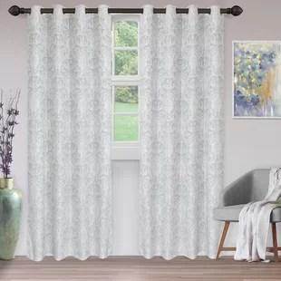 magnol haushome jacquard damask semi sheer grommet curtain panels set of 2