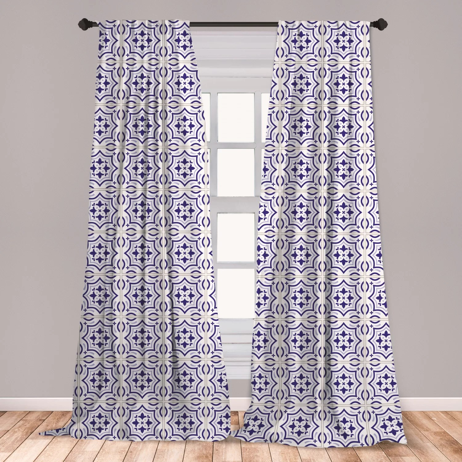 ambesonne navy blue curtains portuguese tile design traditional azulejo retro style mosaic window treatments 2 panel set for living room bedroom