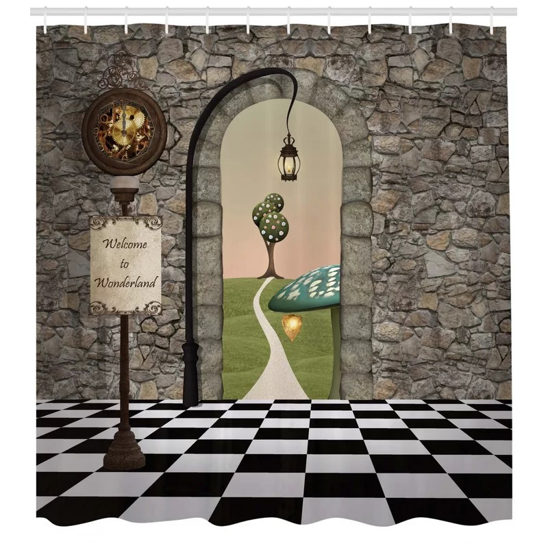 alice in wonderland shower curtain set hooks
