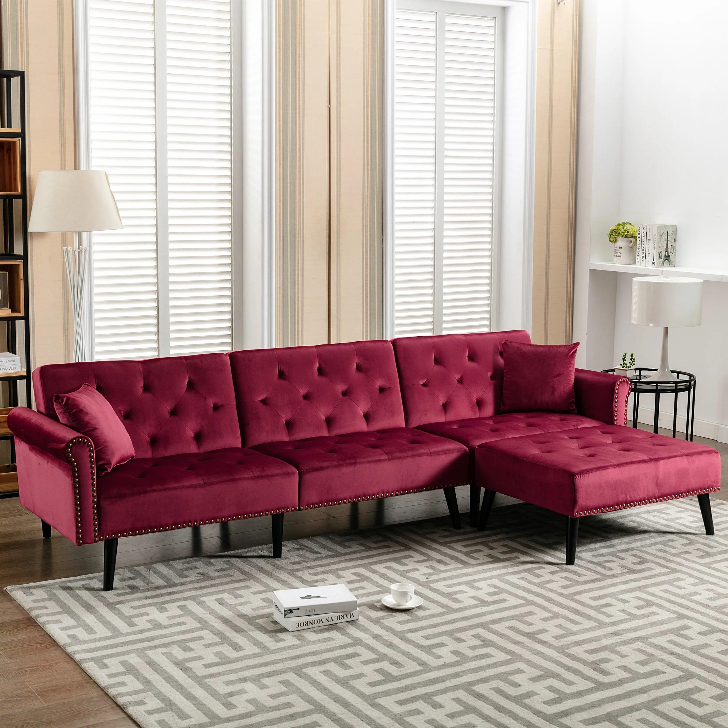 jemima 115 wide velvet reversible sleeper sofa chaise